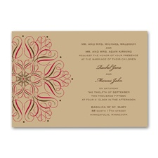 Mod Medallion Wedding Invitation - Merlot