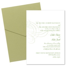 Swirling Filigree Wedding Invitation with Pocket- Cloverleaf