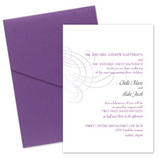 Swirling Filigree Wedding Invitation with Pocket- Grapevine