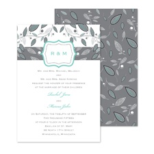 Leafy Monogram Wedding Invitation
