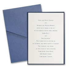 Ecru Shimmer Layered Wedding Invitation with Pocket