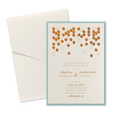 Geometric Border Layered Foil Wedding Invitation - Pocket - Ecru