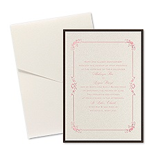 Dainty Frame Layered Foil Wedding Invitation - Pocket - Ecru