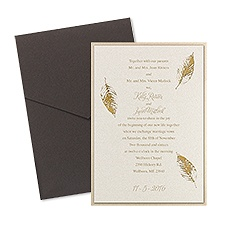 Fall Leaves Layered Foil Wedding Invitation - Pocket - Ecru
