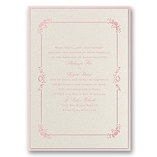 Dainty Frame Layered Foil Wedding Invitation - Ecru