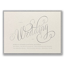 Wedding Typography Layered Foil Wedding Invitation - Ecru