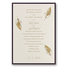 Fall Leaves Layered Foil Wedding Invitation - Ecru