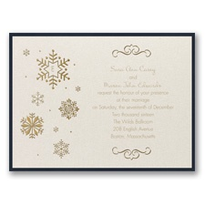 Falling Snowflakes Layered Foil Wedding Invitation - Ecru