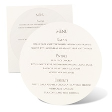 Round Menu Card - Ecru