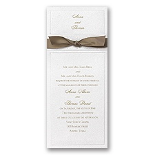 White Shimmer Layered Wedding Invitation