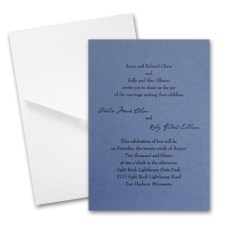 Blue Shimmer Wedding Invitation with Pocket