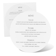 Round Menu Card - White