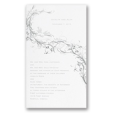 Silver Lovebirds Wedding Invitation