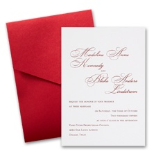 White Wedding Invitation Card with Pocket