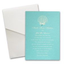 Aqua Shimmer Wedding Invitation Card with Pocket