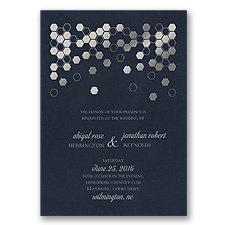 Geometric Border Foil Wedding Invitation - Midnight