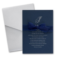 Midnight Wedding Invitation Card with Pocket