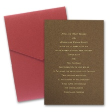 Mocha Shimmer Wedding Invitation Card with Pocket