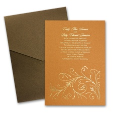 Copper Shimmer Wedding Invitation Card with Pocket