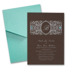 Espresso Wedding Invitation Card with Pocket