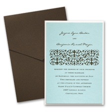 Aqua Layered Wedding Invitation with Pocket