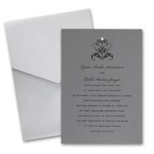 Pewter  Wedding Invitation Card with Pocket