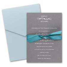 Pewter Pocket Wedding Invitation Card