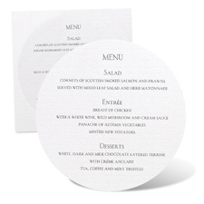 Round Menu Card - White Shimmer