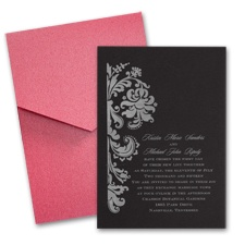 Black Wedding Invitation Card with Pocket