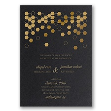 Geometric Border Foil Wedding Invitation - Black Shimmer