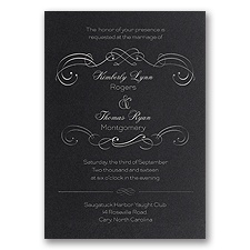 Delicate Flourishes Foil Wedding Invitation - Black Shimmer