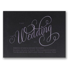 Wedding Typography Foil Wedding Invitation - Black Shimmer