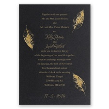 Fall Leaves Foil Wedding Invitation - Black Shimmer