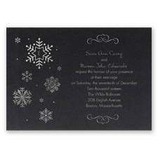 Falling Snowflakes Foil Wedding Invitation - Black Shimmer