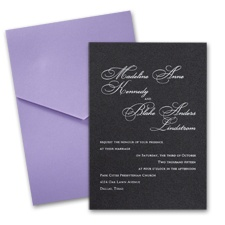 Black Shimmer Wedding Invitation Card with Pocket