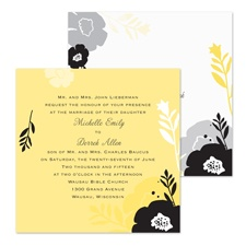 Black Blossoms Wedding Invitation