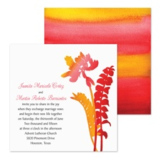 Watercolor Fronds Wedding Invitation - Cherry