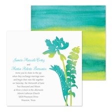 Watercolor Fronds Wedding Invitation - Peacock