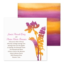 Watercolor Fronds Wedding Invitation - Spice