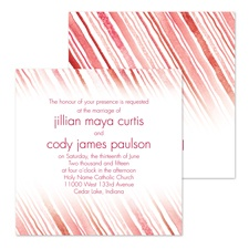 Watercolor Stripes Wedding Invitation - Red