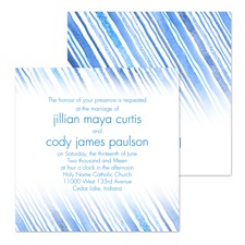 Watercolor Stripes Wedding Invitation - Blue