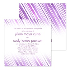 Watercolor Stripes Wedding Invitation - Purple