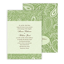 Vintage Paisley Wedding Invitation - Cloverleaf