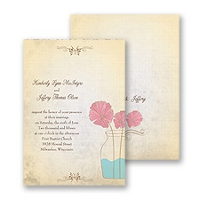 Rustic Vase Wedding Invitation
