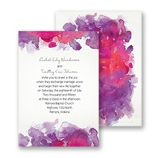 Watercolor Splash Wedding Invitation - Grapevine