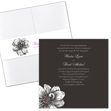Zinnia Silhouette Wedding Invitation with Pocket
