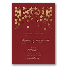Geometric Border Foil Wedding Invitation - Merlot