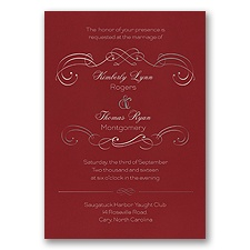 Delicate Flourishes Foil Wedding Invitation - Merlot
