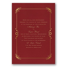 Dainty Frame Foil Wedding Invitation - Merlot
