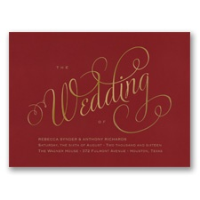 Wedding Typography Foil Wedding Invitation - Merlot